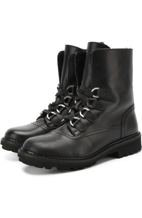 Кожаные ботинки на молнии со шнуровкой | Фото №1