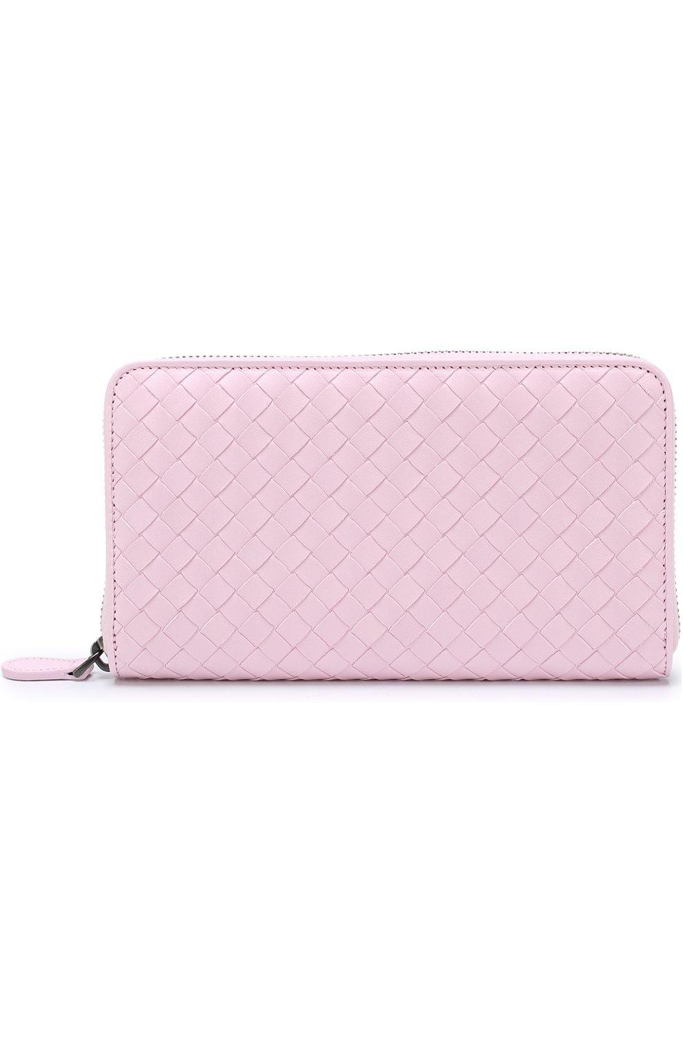 Кожаный кошелек на молнии с плетением intrecciato Bottega Veneta розового цвета | Фото №1