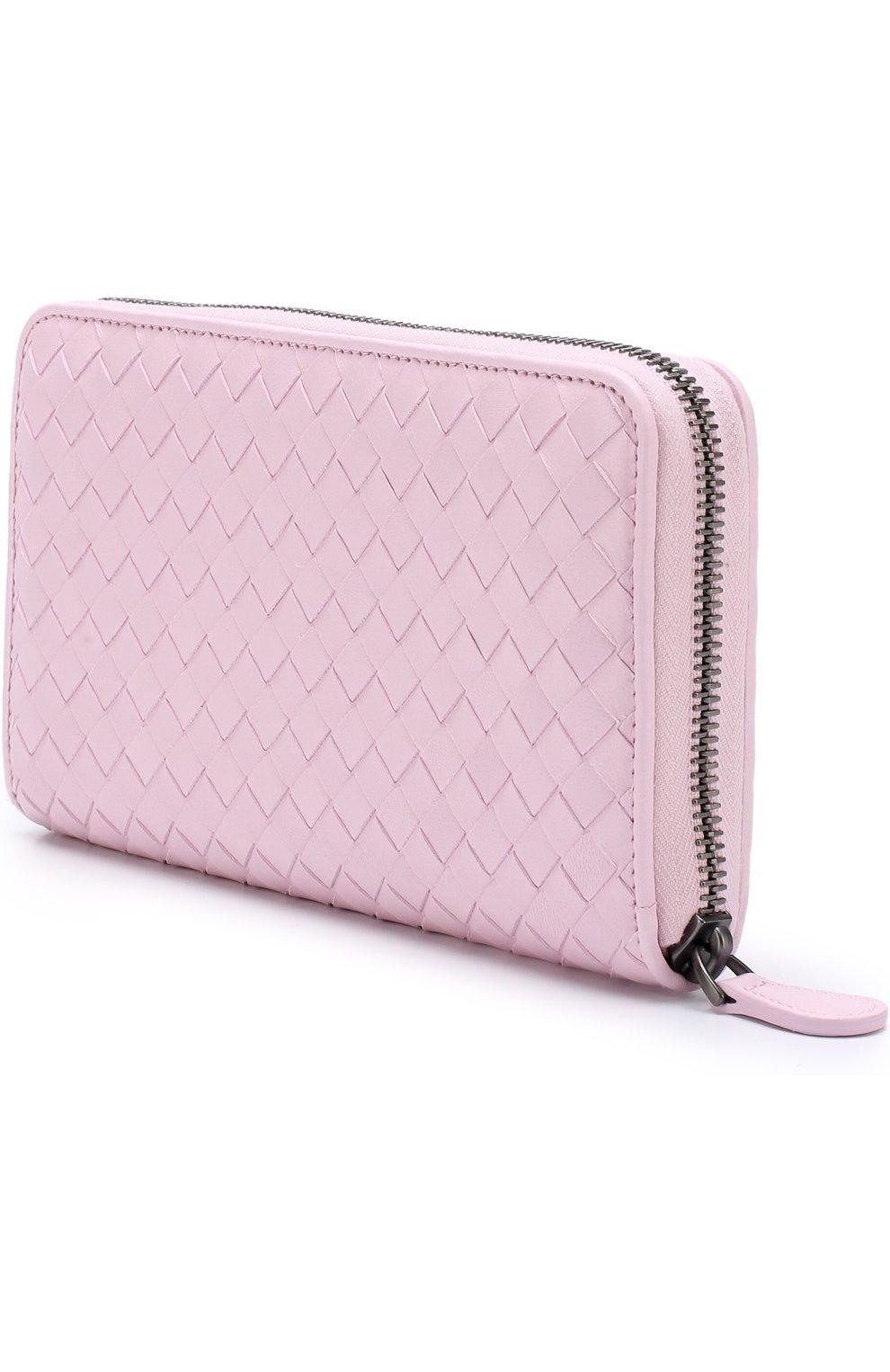 Кожаный кошелек на молнии с плетением intrecciato Bottega Veneta розового цвета | Фото №2