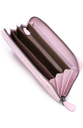 Кожаный кошелек на молнии с плетением intrecciato Bottega Veneta розового цвета | Фото №3