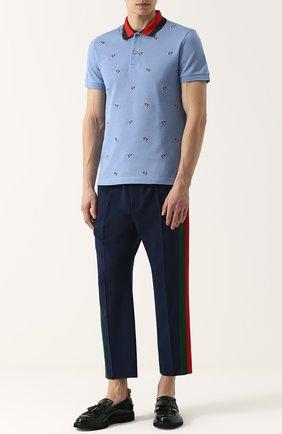 Мужской шерстяные брюки GUCCI темно-синего цвета, арт. 493714/Z6903 | Фото 2