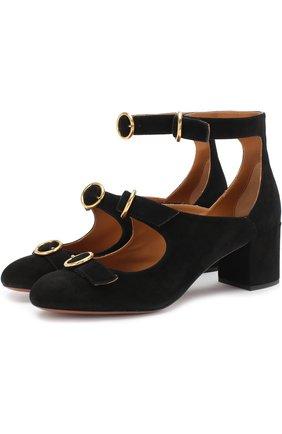 Замшевые туфли Buckles на устойчивом каблуке | Фото №1