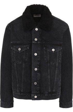 Джинсовая мини-куртка с отложным воротником | Фото №1