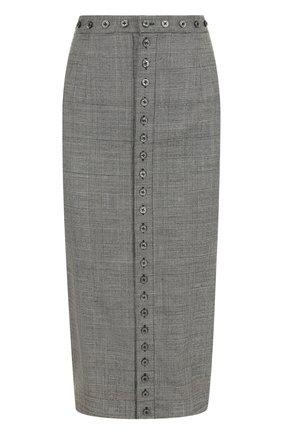 Шерстяная юбка-карандаш в клетку   Фото №1