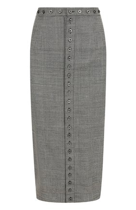 Шерстяная юбка-карандаш в клетку Olympia Le-Tan серая   Фото №1