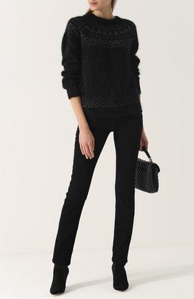 Однотонные джинсы прямого кроя Armani Jeans черные | Фото №1