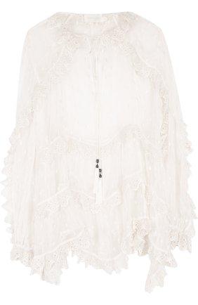 Прозрачная шелковая блуза свободного кроя | Фото №1