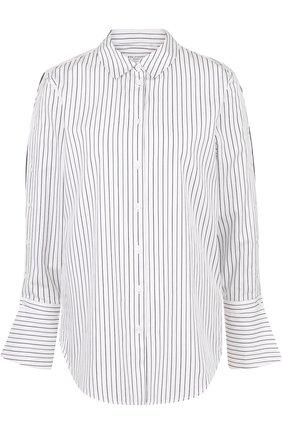 Женская хлопковая блуза свободного кроя в полоску Equipment, цвет серый, арт. Q3100-E999B в ЦУМ | Фото №1
