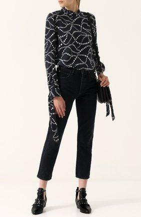 Женская шелковая блуза с воротником-стойкой и бантами на рукавах Equipment, цвет черный, арт. Q2906-E944 в ЦУМ | Фото №1