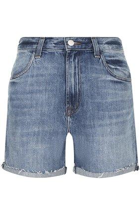 Укороченные джинсовые мини-шорты с потертостями | Фото №1
