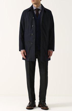 Мужской шерстяное пальто на молнии прямого силуэта KITON темно-синего цвета, арт. UW0125A/3N73 | Фото 2