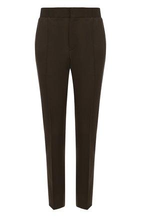Шерстяные брюки прямого кроя с поясом на резинке | Фото №1