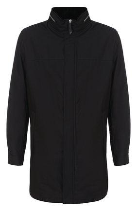Шелковое пальто на молнии с меховой подкладкой | Фото №1