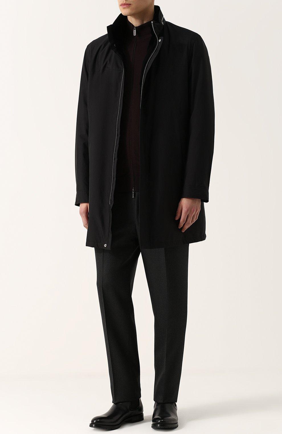 Шелковое пальто на молнии с меховой подкладкой | Фото №2