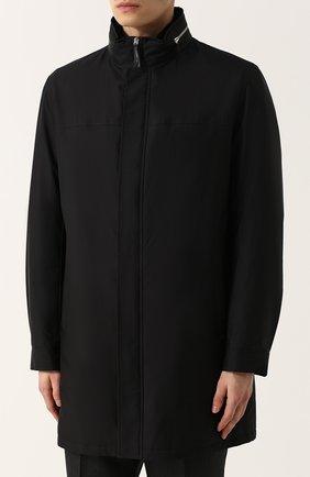 Шелковое пальто на молнии с меховой подкладкой | Фото №3