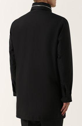Шелковое пальто на молнии с меховой подкладкой | Фото №4