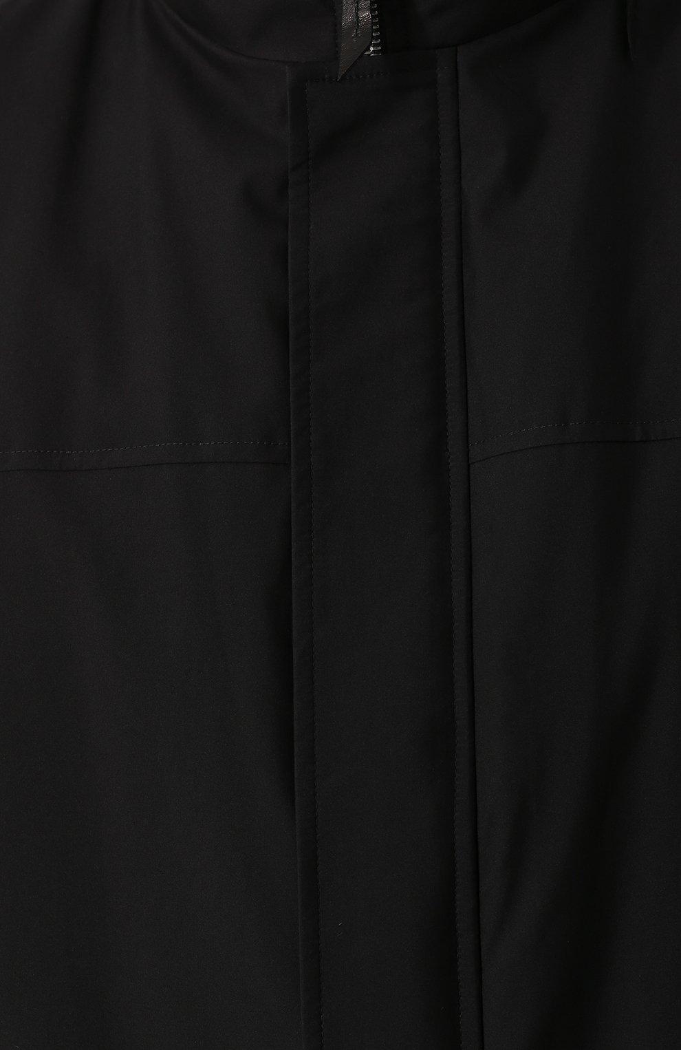 Шелковое пальто на молнии с меховой подкладкой | Фото №5