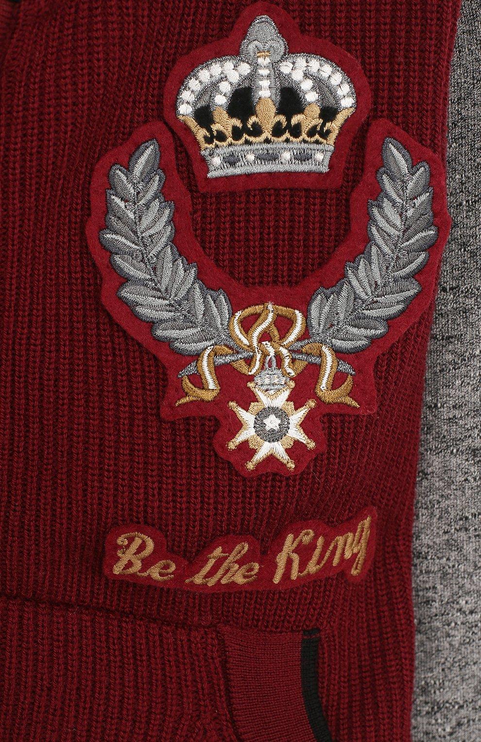 Спортивный кардиган из хлопка и шерсти с аппликациями и капюшоном   Фото №3