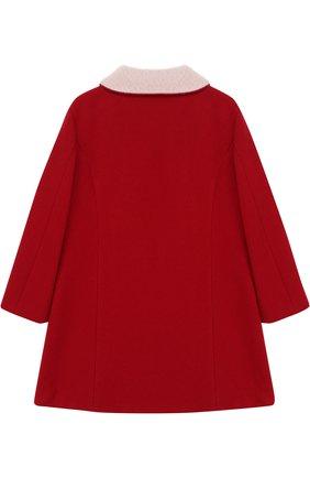 Пальто с фигурной вышивкой и отложным воротником Vivetta красного цвета | Фото №1