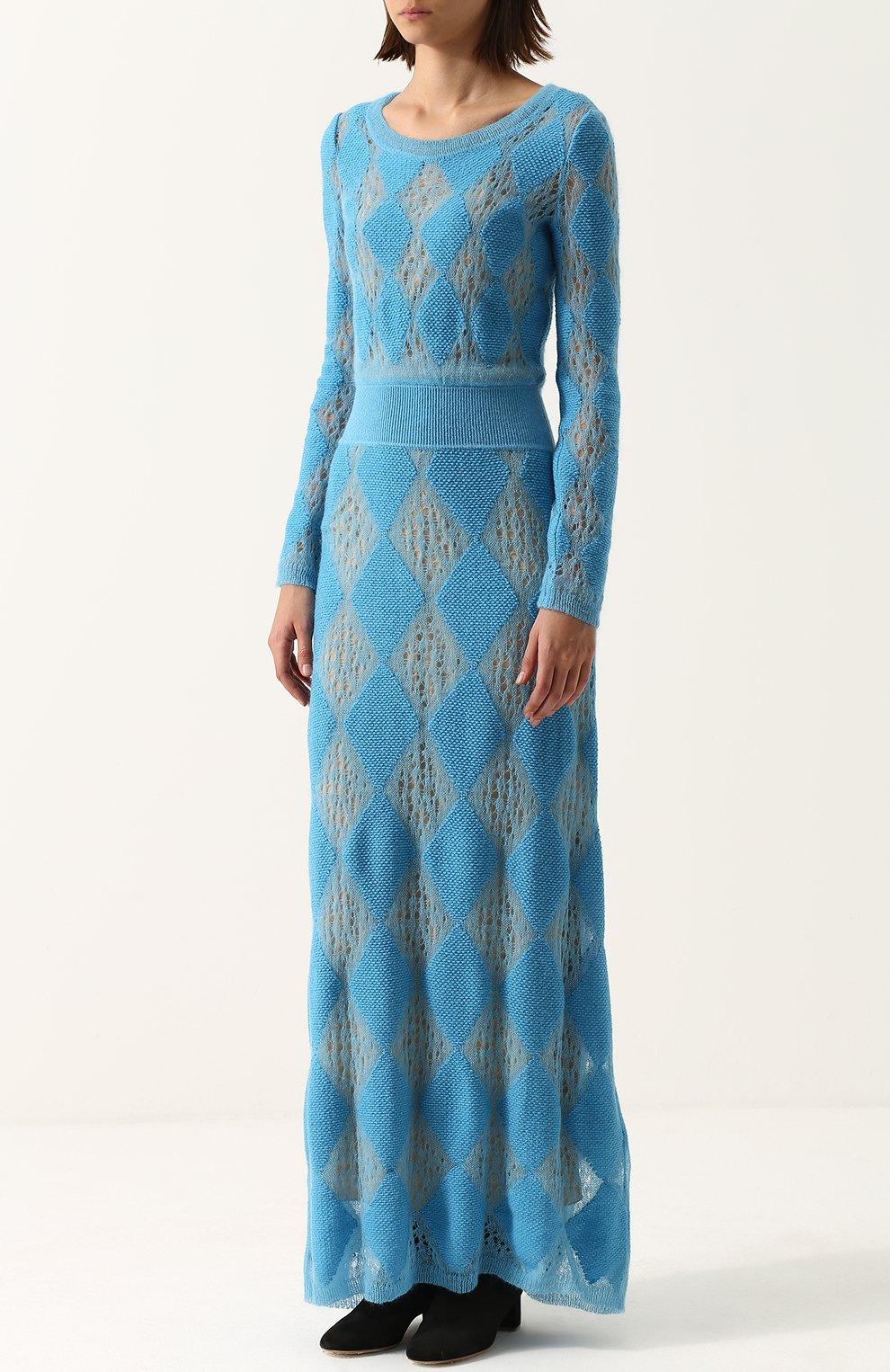 Приталенное вязаное платье-макси с длинным рукавом | Фото №3