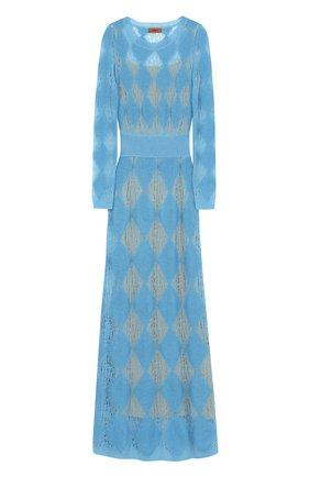 Приталенное вязаное платье-макси с длинным рукавом Missoni голубое | Фото №1