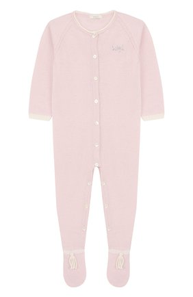 Комбинезон из шерсти и кашемира с кисточками Baby T розового цвета | Фото №1