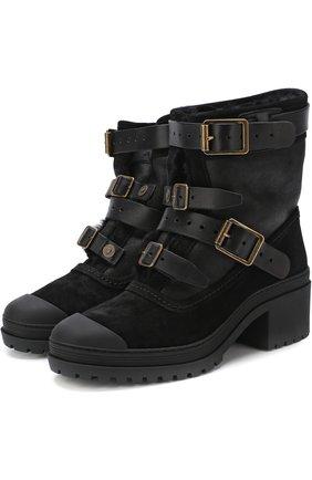 Комбинированные ботинки с ремешками | Фото №1