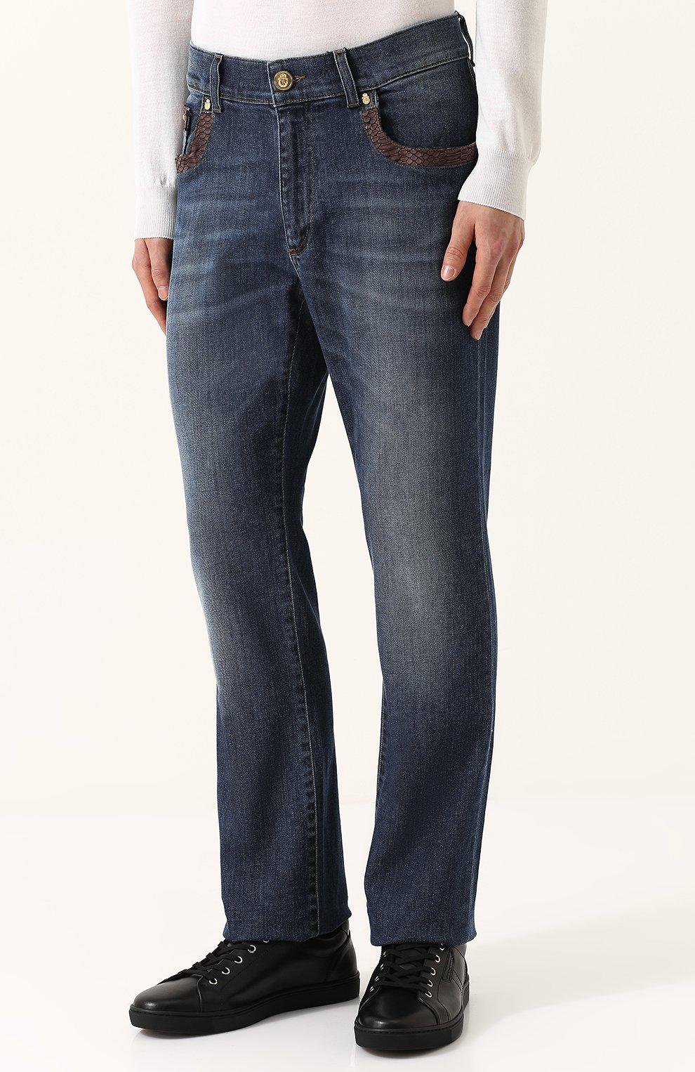 62ced6053e63 Мужские синие джинсы прямого кроя с кожаной отделкой BILLIONAIRE — купить  за 98300 руб. в ...