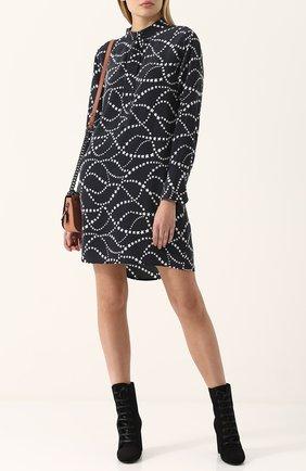 Шелковое мини-платье с принтом в виде звезд Equipment черно-белое | Фото №1