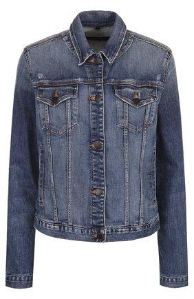 Джинсовая куртка прямого кроя с потертостями   Фото №1