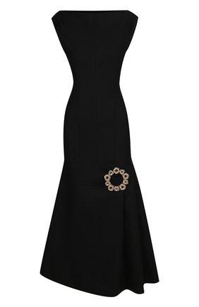 Приталенное шерстяное платье-миди Jacquemus черное   Фото №1