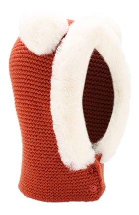Кашемировая балаклава фактурной вязки с меховой отделкой | Фото №1