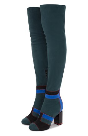 Замшевые ботфорты с контрастной отделкой на устойчивом каблуке Pierre Hardy разноцветные | Фото №1