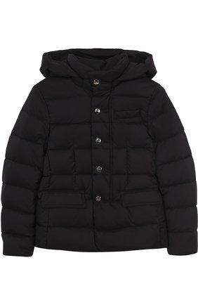 Пуховая куртка с капюшоном Herno синего цвета   Фото №1