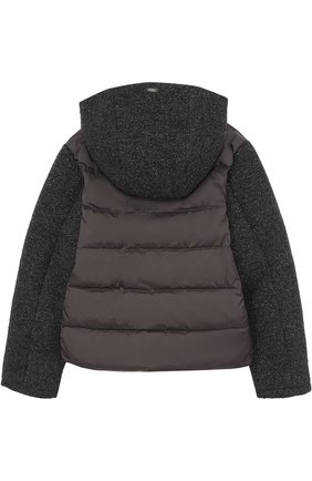 Пуховая куртка с текстильной отделкой и капюшоном Herno темно-серого цвета   Фото №1