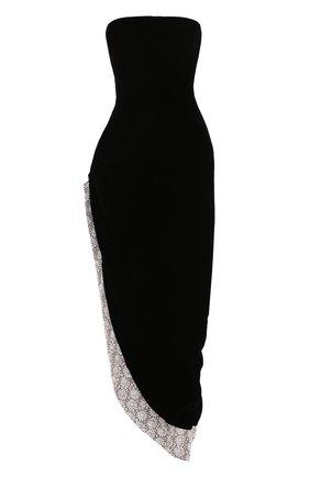Шелковое платье-бюстье асимметричного кроя   Фото №1