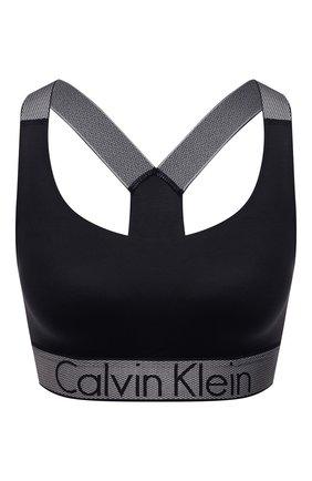 Женский однотонный бюстгальтер с логотипом бренда CALVIN KLEIN черного цвета, арт. QF4053E | Фото 1