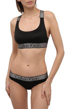 Женский однотонный бюстгальтер с логотипом бренда CALVIN KLEIN черного цвета, арт. QF4053E | Фото 2
