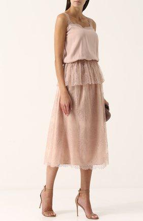 Женская однотонная кружевная юбка-миди ST. JOHN розового цвета, арт. K72PW11   Фото 2