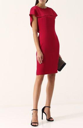 Женское однотонное платье-футляр с кейпом ST. JOHN красного цвета, арт. K12PW81   Фото 2