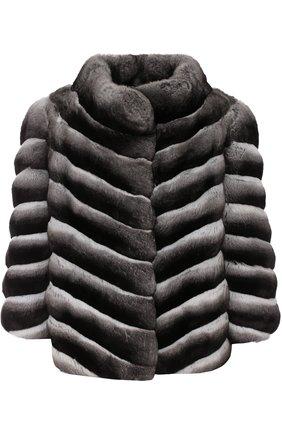 Шуба с укороченным рукавом из меха шиншиллы | Фото №1