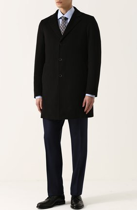 Мужской однобортное пальто из шерсти викуньи с меховой подкладкой LORO PIANA черного цвета, арт. FAG4531 | Фото 2