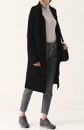 Удлиненный вязаный кардиган с накладными карманами Not Shy черный   Фото №1