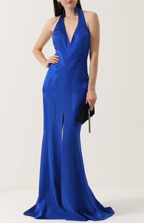 Приталенное шелковое платье-макси с подолом Rubin Singer синее | Фото №1