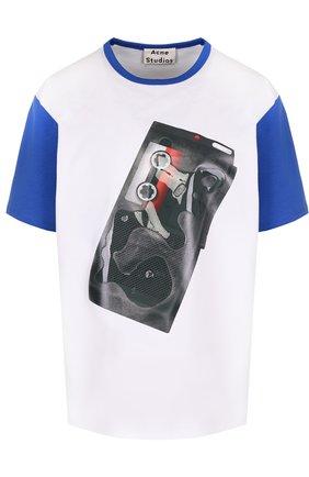 Хлопковая футболка прямого кроя с принтом Acne Studios разноцветная | Фото №1