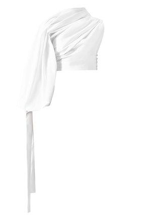 Хлопковый топ асимметричного кроя с драпировкой Jacquemus белый   Фото №1
