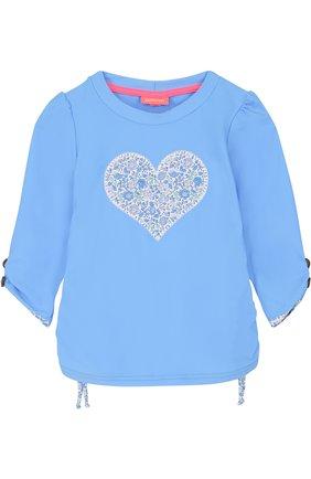 Детская лонгслив с принтом и вышивкой SUNUVA голубого цвета, арт. SG8465A/7-14 | Фото 1