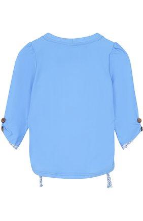 Детская лонгслив с принтом и вышивкой SUNUVA голубого цвета, арт. SG8465A/7-14 | Фото 2