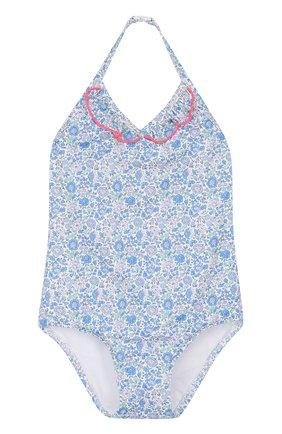 Детского слитный купальник с принтом и оборками SUNUVA голубого цвета, арт. SG8466U/1-6 | Фото 1
