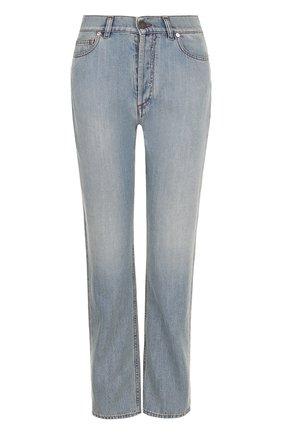 Женские джинсы прямого кроя с потертостями VALENTINO голубого цвета, арт. PB3DD05T/3T4   Фото 1